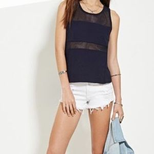 FOREVER 21 Tank Top w/ Mesh Panels